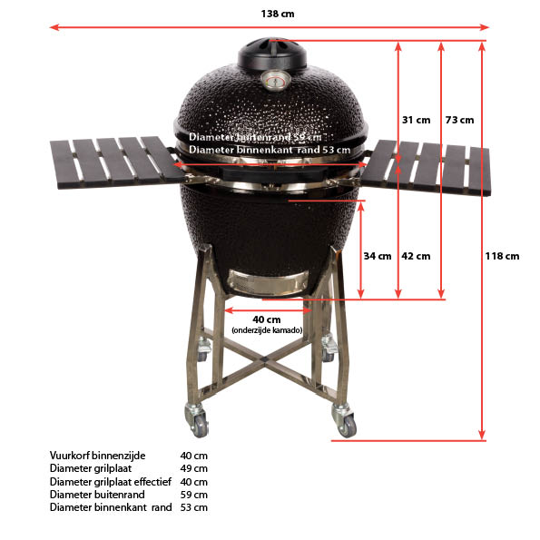 Afmetingen Kamado by KamadoWorld